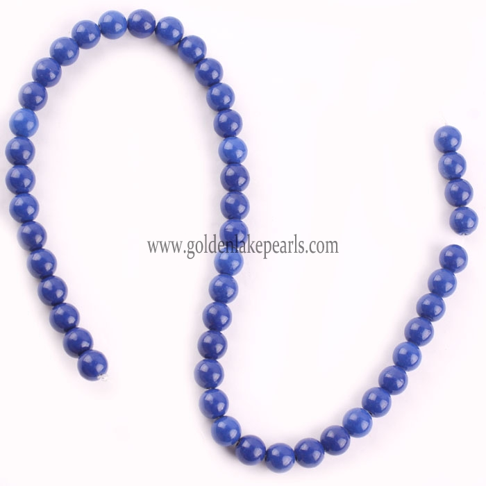 Dyed Lapis Lazuli color Synthetic Bead Plain Round