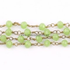 Peridot Jade Glass Faceted Rondelles Rosary Chain, sale by meter