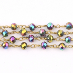 Multicolored Plated Glass Faceted Rondelles Rosary Chain, sale by meter