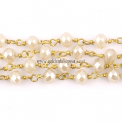 White Jade Plated Glass Faceted Rondelles Rosary Chain, sale by meter