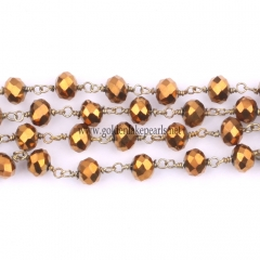 Copper Plated Glass Faceted Rondelles Rosary Chain, sale by meter