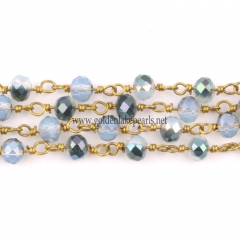 White Opal With Half Transparent Green Plated Glass Faceted Rondelles Rosary Chain, sale by meter