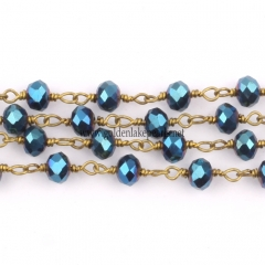 Blue Plated Glass Faceted Rondelles Rosary Chain, sale by meter