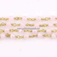 Pink Jade Plated Glass Faceted Rondelles Rosary Chain, sale by meter
