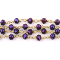 Purple Plated Glass Faceted Rondelles Rosary Chain, sale by meter