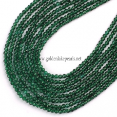 Dyed Green Color Synthetic Spinel Faceted Rounds, 2mm, Approx 38cm/strand