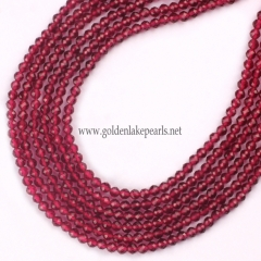 Dyed Red Color Synthetic Spinel Faceted Rounds, 2mm, Approx 38cm/strand