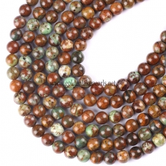 Golden&Green Jasper Plain Rounds, 4-10mm, Approx 38cm/strand