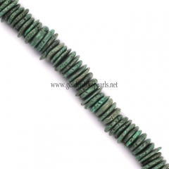 Dark Green Synthetic Turquoise Graduated Slices, 10-20mm, Approx 38cm/strand
