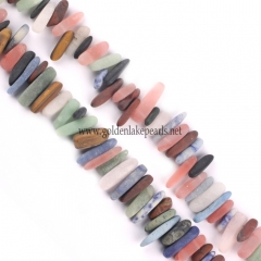 Mixed Stones Matte Long Chips, Approx 6x16mm, Approx 38cm/strand