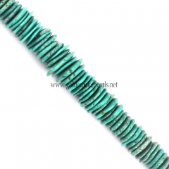 Green Synthetic Turquoise Graduated Slices, 10-20mm, Approx 38cm/strand
