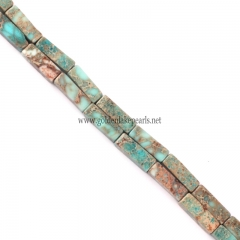 Tuquoise Blue color Impression Jasper Cubiods, Approx 4x13mm, Approx 38cm/strand