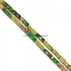 Apple Green color Impression Jasper Cubiods, Approx 4x13mm, Approx 38cm/strand