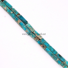 Turquoise Green color Impression Jasper Cubiods, Approx 4x13mm, Approx 38cm/strand