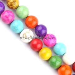 Dyed Mixed Color Magnesite Plain Rounds, 6-10mm, Approx 38cm/strand