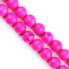 Dyed Rose Pink Color Magnesite Plain Rounds, 6-10mm, Approx 38cm/strand