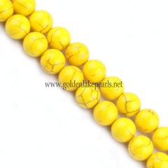Dyed Yellow Color Magnesite Plain Rounds, 6-10mm, Approx 38cm/strand