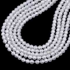 White Color Cubic Zirconia Faceted Rounds Appox 2-4mm, Approx 38cm/strand