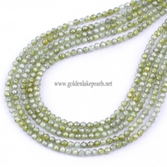 Olive Green Color Cubic Zirconia Faceted Rounds Appox 2-4mm, Approx 38cm/strand