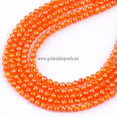 Orange Color Cubic Zirconia Faceted Rounds Appox 2-4mm, Approx 38cm/strand