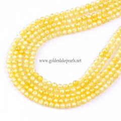 Yellow Color Cubic Zirconia Faceted Rounds Appox 2-4mm, Approx 38cm/strand