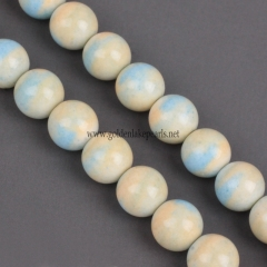 Dyed Blue&Yellow Color Synthetic Anion Oxide Bead Plain Round, Approx 8mm, Approx 38cm/strand