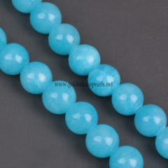 Dark Sky Blue Color  New Dyed Mi Jade Plain Rounds 4-12mm , Approx 38cm