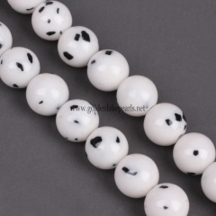 Black Dot White Jade Color  New Dyed Mi Jade Plain Rounds 4-12mm , Approx 38cm