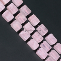 Rose Quartz Plain Cuboid, Approx 10x15mm